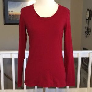 LOFT solid red scoop neck long sleeve tee Size S